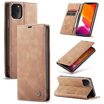 Beskyttende etui faux Skinndeksel til Eple iPhone 11 Pro beige veske lommebok veske