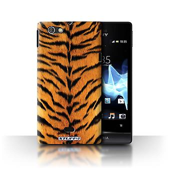 STUFF4 Case/Cover for Sony Xperia Miro/ST23I/Tiger/Animal Fur Pattern