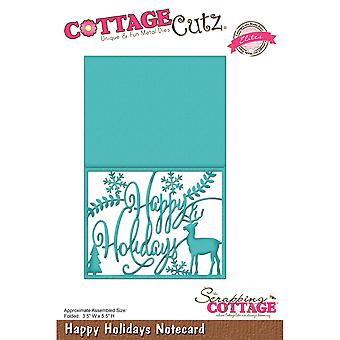CottageCutz Elites Die -Happy Holiday Notecard, 3.5