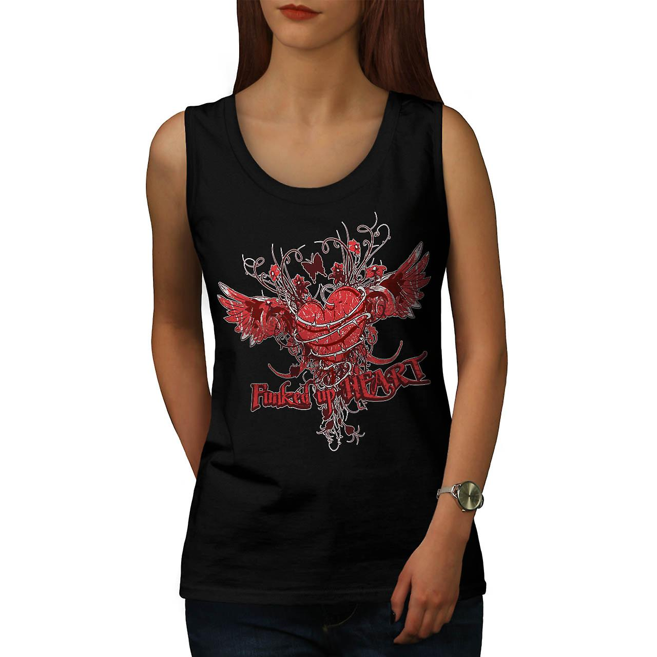 Funked Up cuore amore Thorn Rose donne Tank Top nero | Wellcoda