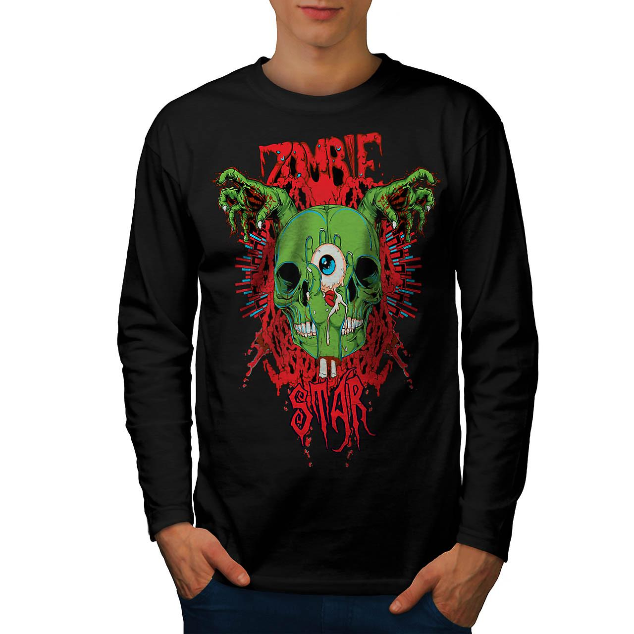 Skull Star Dead Zombie Men Black Long Sleeve T-shirt | Wellcoda
