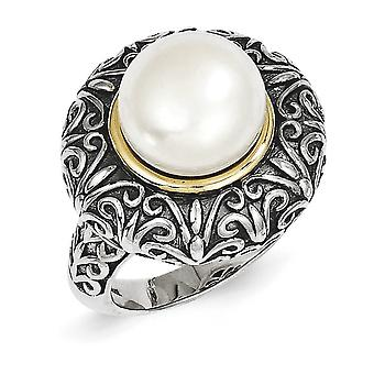Sterling Zilver, 14k Yellow witte zoetwater Cultured Pearl Ring - Ringmaat: 6 tot en met 8