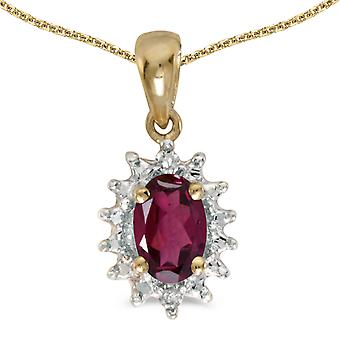 10k Yellow Gold Oval Rhodolite Garnet And Diamond Pendant with 16