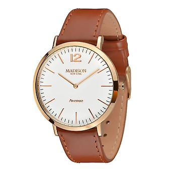 MADISON NEW YORK Damen Uhr Armbanduhr Avenue Leder L4741E4