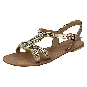 Ladies Spot On Leather Collection Glamorous Flat Sandals