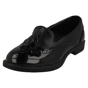 Girls Spot On Brogue Detail Loafer Flats