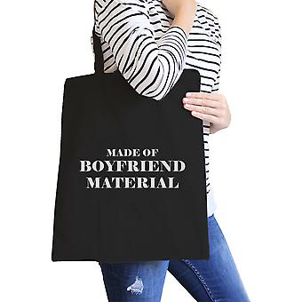 Boyfriend Material Black Canvas Tote Cute Gift Ideas For Her