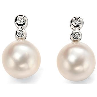 9 CT White Gold, Pearl And Diamond Earring