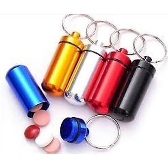 Boolavard® TM Aluminum Pill Box Case Bottle Holder Container Keychain Key Chain Key Ring (Gold)