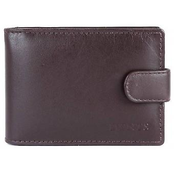 Dents Press Stud Fastening Leather Credit Card Holder - Chocolate