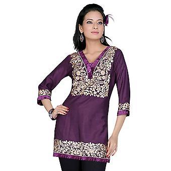 Purple mangas 3/4 Kurti/túnica con diseño bordado