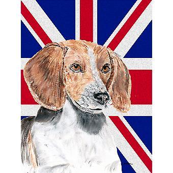 English Foxhound mit englischen Union Jack britische Flagge Fahne Leinwandgröße Haus