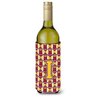 Letter I Football Maroon and Gold Wine Bottle Beverage Insulator Hugger