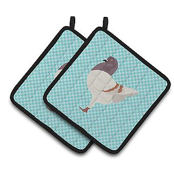 German Modena Pigeon Blue Check Pair of Pot Holders