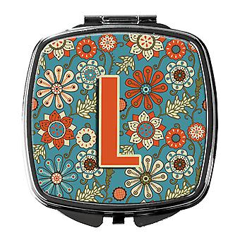 Carolines Treasures  CJ2012-LSCM Letter L Flowers Retro Blue Compact Mirror