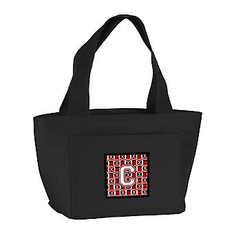 Letter C Football Cardinal and White Lunch Bag