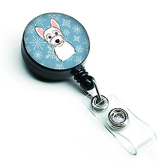 Carolines Treasures  BB1660BR Snowflake Westie Retractable Badge Reel