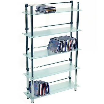 Maxwell - 5 Tier 165 Dvd / Blu-ray / 250 Cd / Media opslag planken - Frosted