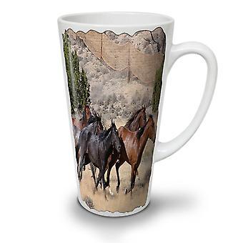 Wildes Pferd Freiheit neue Weißer Tee Kaffee Keramik Latte Becher 17 oz | Wellcoda