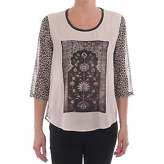 Maison Scotch dame Photoprinted Top med Lepoard ærme