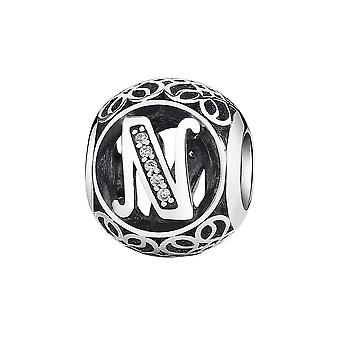 Sterling silver charm with zirconia stones letter N PSC008-N