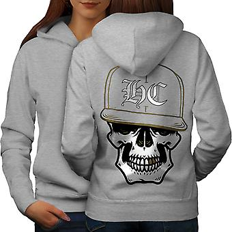 Skull Swag Gamer Women GreyHoodie Back | Wellcoda