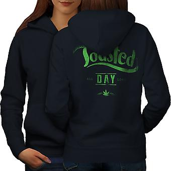 Toasted Day Weed Rasta Women NavyHoodie Back | Wellcoda