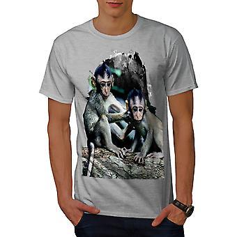 Monkey Nature Wild Men GreyT-shirt | Wellcoda