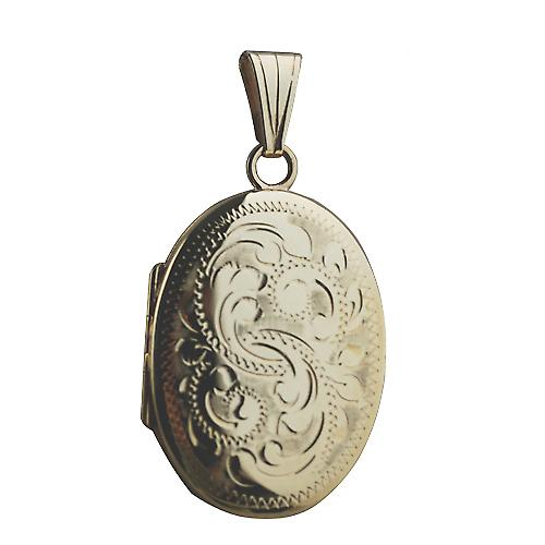 9ct Gold 27x20mm oval hand engraved Miraculous Medal Locket