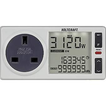 Energy consumption meter VOLTCRAFT 4500 PRO UK built-in child safety guard, Selectable energy tariffs, built-in battery