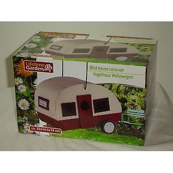 Pássaro casa caravana madeira branco vermelho pode ser usado como o alimentador do pássaro