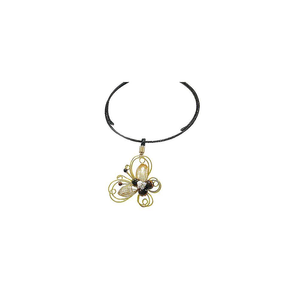 Collier Papillon et Perles en Nacre et Cristal