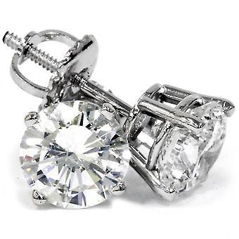 2 ct Round Diamond Screw Back Studs in 14k White Gold Enhanced