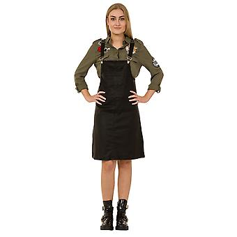 Leather Look Dungaree Dress Black Shiny 'Wet Look' Pinafore
