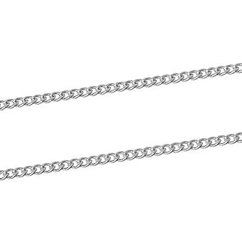 10m x Silver Plated Iron Alloy 2.2 x 3mm Closed Curb Chain CH1320