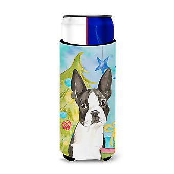 Christmas Tree Boston Terrier Michelob Ultra Hugger for slim cans