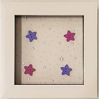 Laura Ann tarjetas enmarcado Twinkle Twinkle Stars chica blanco pequeño marco