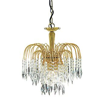 Waterfall Gold Plated 3 Light Crystal Pendant Complete With Crystal 60W 38Cm