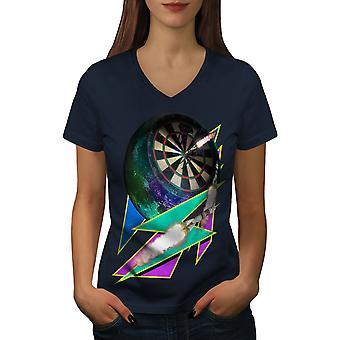 Dart-Board Gaming Frauen NavyV-Neck T-shirt | Wellcoda