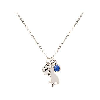 GEMSHINE cat and paw pendant. Blue Sapphire gemstone. 925 Silver, gold plated or 45cm necklace. Gift for pet owner, mistress - made in Spain