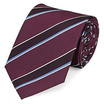 Schlips Krawatte Krawatten Binder 8cm weinrot blau weiß gestreift Fabio Farini