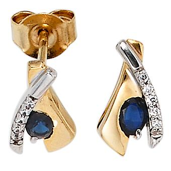 333 Stud Earrings gold yellow gold part rhodium plated 10 cubic zirconia 2 blue Safire earring gold