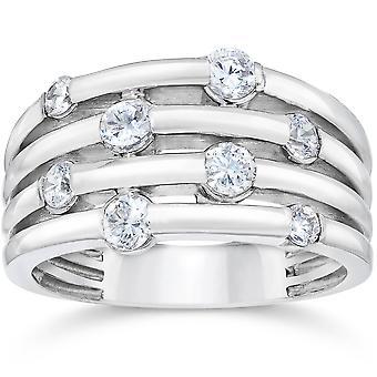 14K białe złoto 1ct diament Ring ręka prawo
