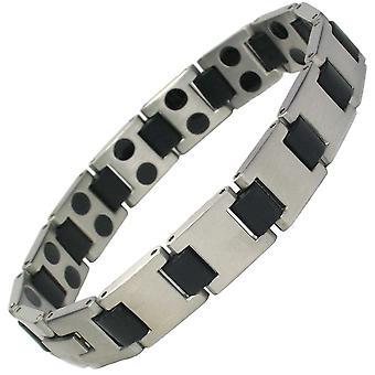 MPS® HORIZON Mens Stainless Steel Magnetic Bracelet Grey Finish + Free Gift Wallet + Free RESIZING TOOL