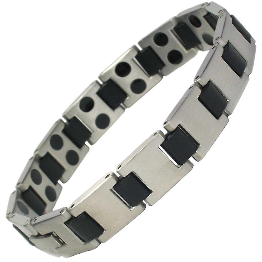 MPS® HORIZON Mens Stainless Steel Magnetic Bracelet Grey Finish + Free Gift Wallet + Free RESIZING TOOL