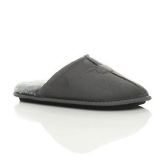 Ajvani mens flat winter fur lined memory foam gift mules slippers house shoes