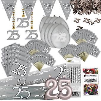 Silver wedding anniversary party decoration set XL 103-teilig 25 years anniversary silver wedding party package