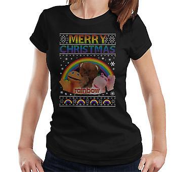 Rainbow Merry Christmas Knit Pattern Women's T-Shirt