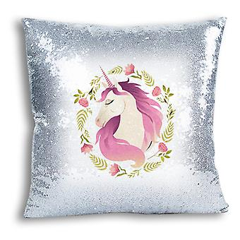 i-Tronixs - Unicorn Printed Design Silver Sequin Cushion / Pillow Cover for Home Decor - 9