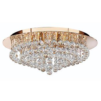 Searchlight 3408-8GO Hanna 8 Light Flush Ceiling Crystal Light
